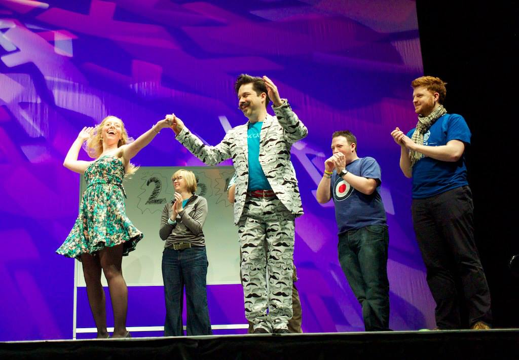 Lucky winners at the Drupal Gameshow Extravaganza at DrupalCon Portland