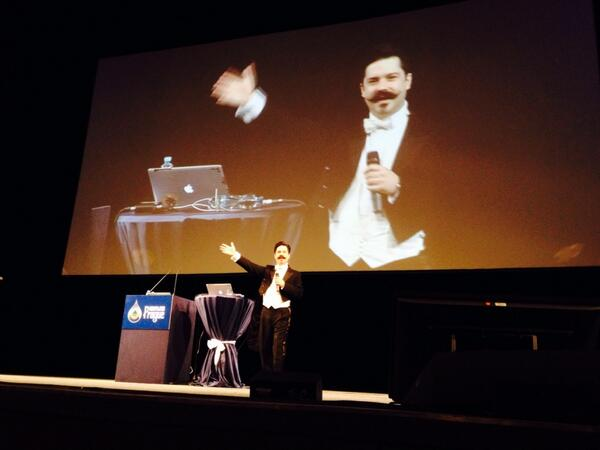 Maestro jam prepares to conduct the Drupal Hallelujah Chorus at DrupalCon Prague