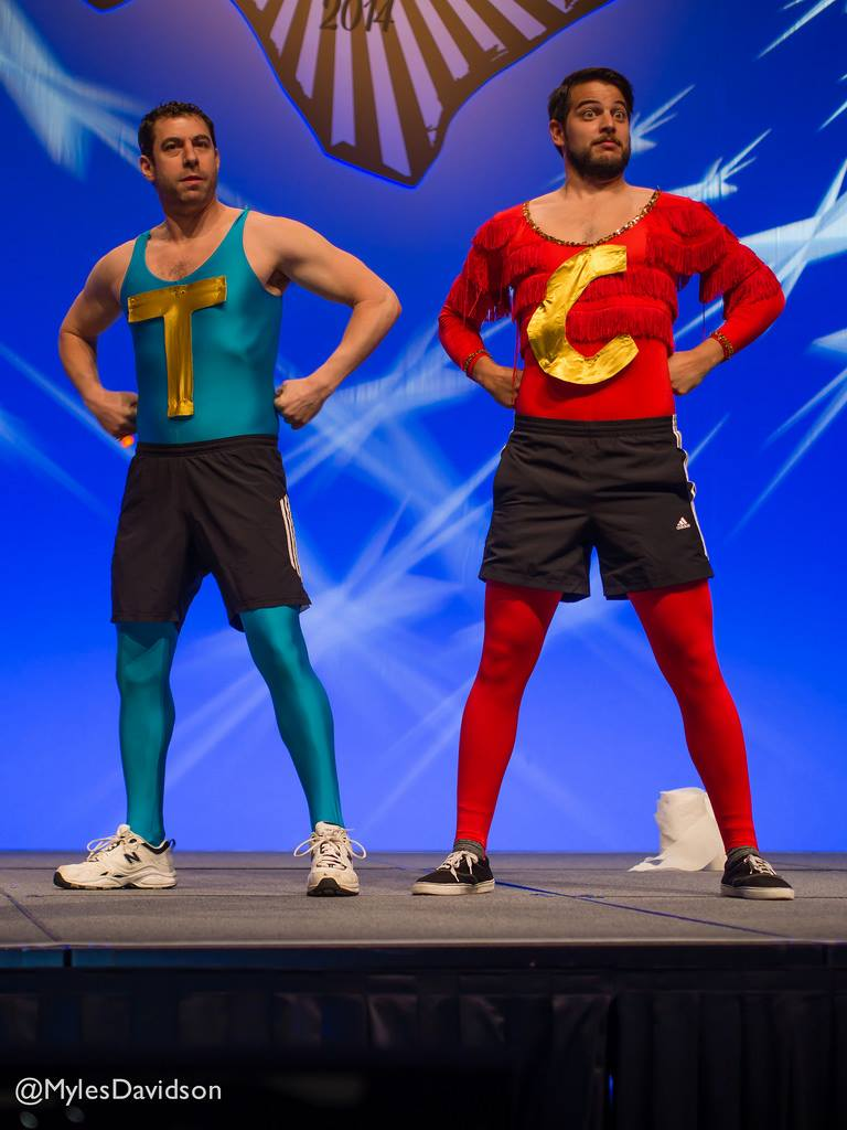 Adam Juran and Campbell Vertesi as the Coder/Themer Wonder Twins at DrupalCon Austin!